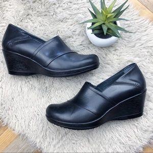 •DANSKO• Black Leather Rosaline Wedge Clogs Heels